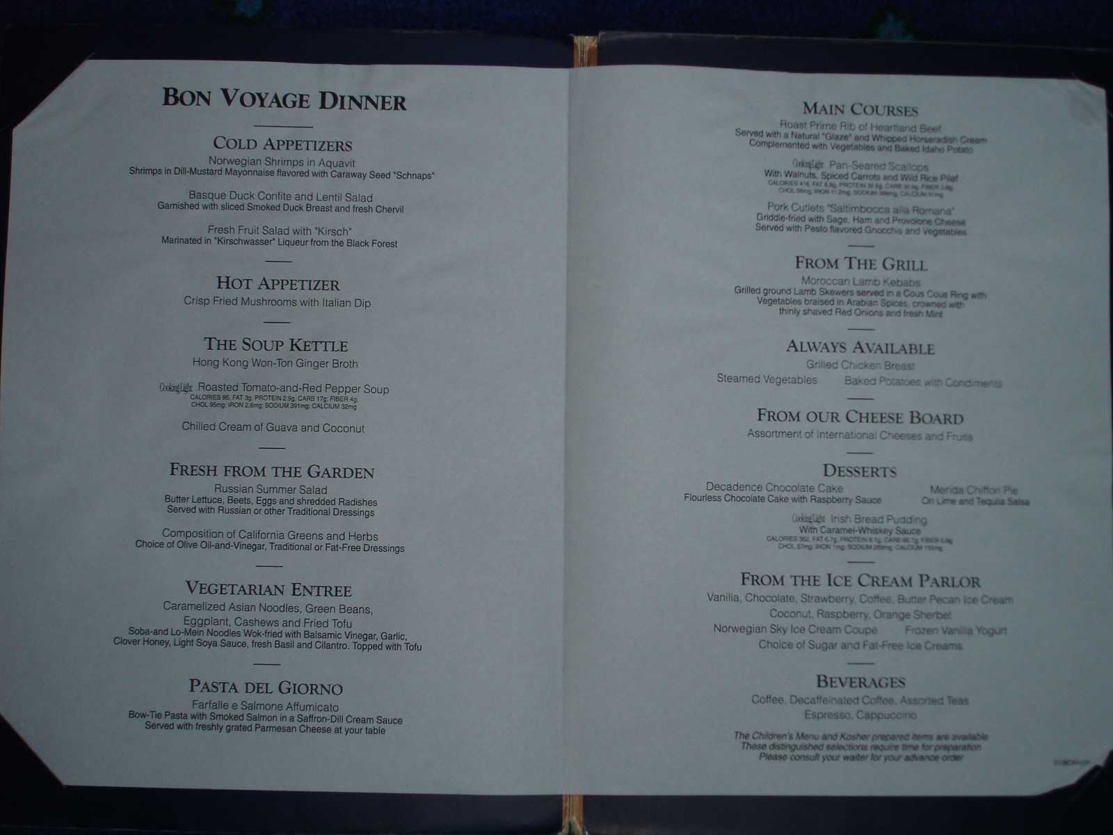 On the seas ncl dawn 2005 menus and ncl freestyle dailys for W austin in room dining menu